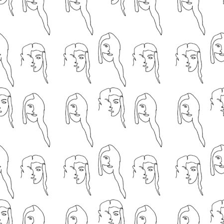 Seamless pattern with outline silhouette of woman face. Modern avant- garde poster. One continuous line drawing. Trendy minimalistic faces.