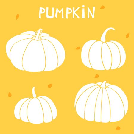 Vector set with pumpkins. White silhouette of gourd on an orange backdrop.  Stock Illustratie