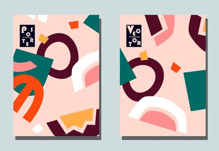 Cover with graphic elements - abstract shapes. Two modern vector flyers in puzzle  style. Geometric wallpaper for business brochure, cover design. Ilustração