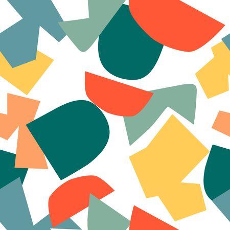 Trendiges nahtloses Muster mit grafischen abstrakten geometrischen Formen. Avantgardistischer Puzzle-Stil. Geometrische Tapete für Cover-Design.
