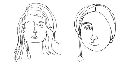 Continuous line art. One line drawing. Black and white minimalist graphic.  Art of set women faces and hairstyle.