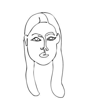 Linear abstract woman face. Continuous line art. One line drawing. Minimalist graphic. Ilustração