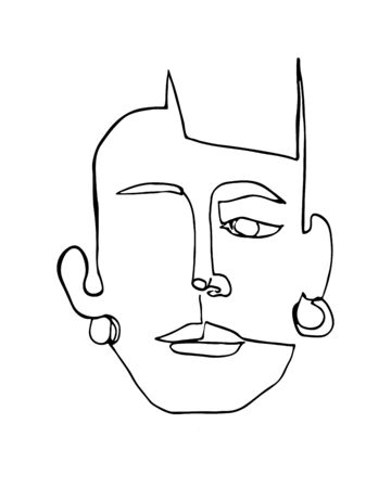 Modern poster with linear abstract woman face with earrings. Continuous line art. One line drawing. Minimalist graphic.