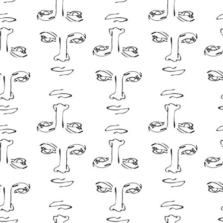 Modern seamless pattern with linear abstract woman face. Continuous line art. One line drawing. Minimalist graphic.