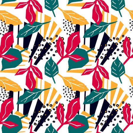 Abstract seamless pattern with graphyc elements, modern abstract shapes and leaves.  Avant-garde collage style. Geometric wallpaper for business brochure,  cover design. Ilustração
