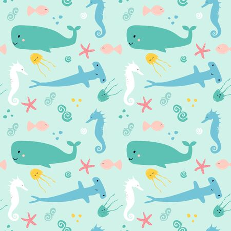 Seamless pattern with sea animal - fish; shark; whale; starfish; jellyfish; sea horse. Cute cartoon character.