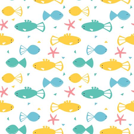 Seamless pattern with fish and star fish. Cute cartoon character.
