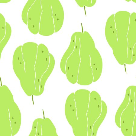 Seamless pattern with drawing of a rare fruit - chayote, mexican cucumber. Illustration
