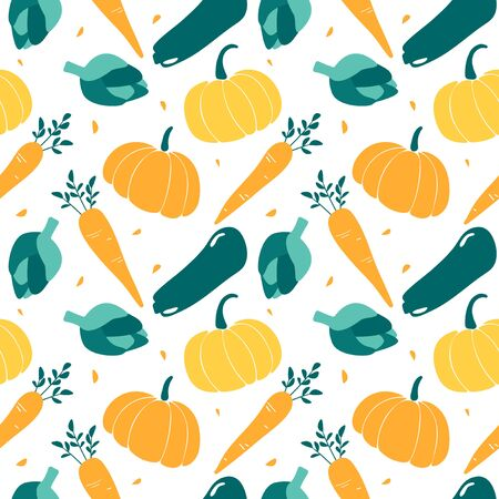 Seamless pattern with seasonal vegetables - zucchini, pumpkin, artichoke, carrot. Print with autumn harvest. art can be used for wallpaper, packing, menu design. Stock fotó - 138270956