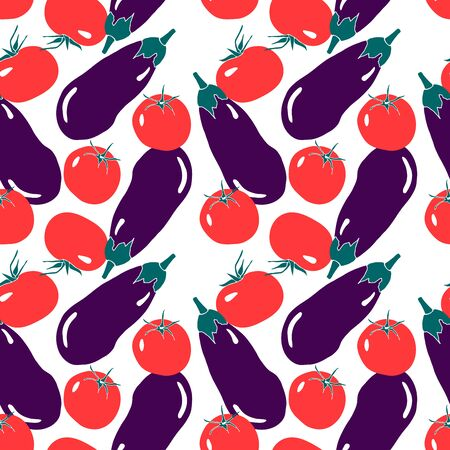 Seamless pattern with red tomato and violet eggplant. Simple modern flat style. Summer print with vegetables.