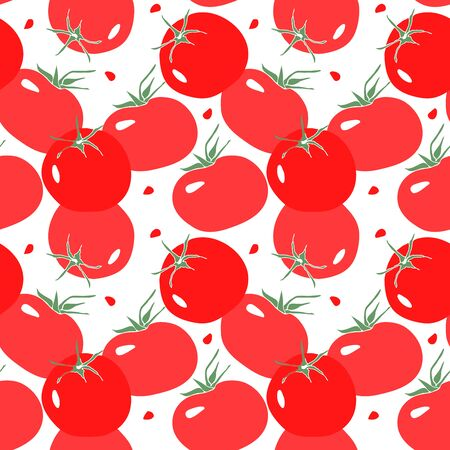 Seamless pattern with red tomato. Vegetarian food in modern flat style. Stock fotó - 138270962