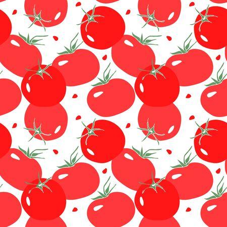 Seamless pattern with red tomato. Vegetarian food in modern flat style. Illusztráció