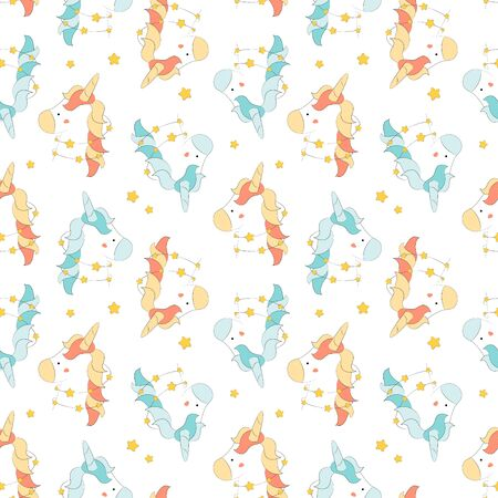Trendy seamless pattern with  unicorns - fantastic creature, mystical animal. Childish cartoon print. Stock Illustratie