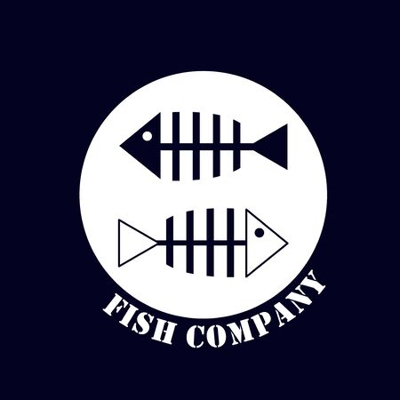 Branded logo for a company associated with fish production. Illustration with two silhouette of fish bones.