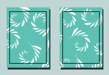 Cover with plant elements - sprigs with leaves. Blue and white colors.Two floral vector templates of flyers. A4 format.