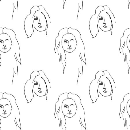Seamless pattern with outline silhouette of woman portrait with long hair.