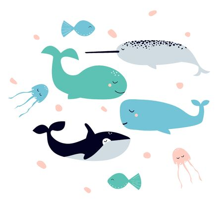 Cute cartoon collection of vector drawings on the theme of sea animals - the killer whale, narwhal, jellyfish, fish, whale. Art can be used for childish books, placard, postcard. For Celebration International Day of the Whales.