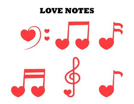 Insieme di vettore con musica d'amore. Icona di note con cuori.
