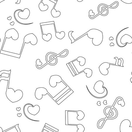 Seamless patter with love music - notes with hearts. Ilustracje wektorowe