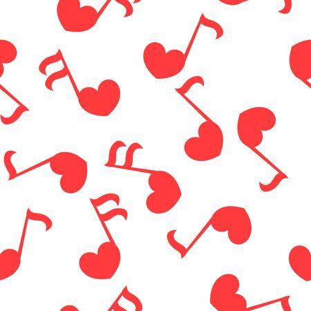 Bezszwowe tupot z muzyką miłości - notatki z sercami. Do, re, mi, fa, sol, la, si, klucz wiolinowy - znak muzyki.