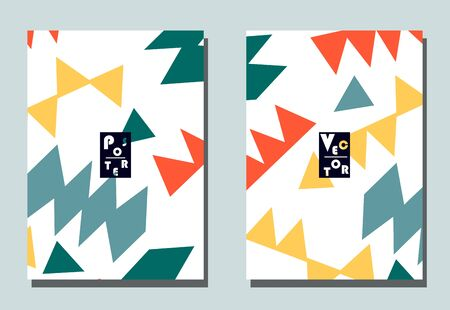Cover with graphic elements - abstract shapes. Two modern vector flyers in puzzle  style. Geometric wallpaper for business brochure, cover design.  矢量图像