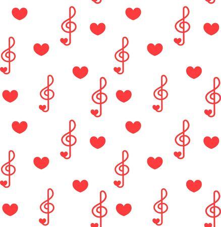 Picchiettio senza soluzione di continuità con musica d'amore - note con i cuori. Do, re, mi, fa, sol, la, si, clef - segno della musica. Vettoriali