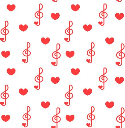 Seamless patter with love music - notes with hearts. Do, re, mi, fa, sol, la, si, clef - sign of music. Foto de archivo - 139359945