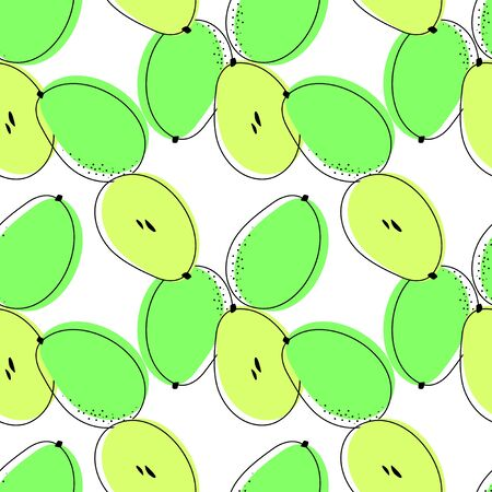 Seamless pattern with ambarellas. Vector drawing of rare topucal exotic fruit - ambarella. Spondias dulcis, mombin, pomme cythere, polynesian-plum, yellow plum, otaheite-apple, tahitian quince.