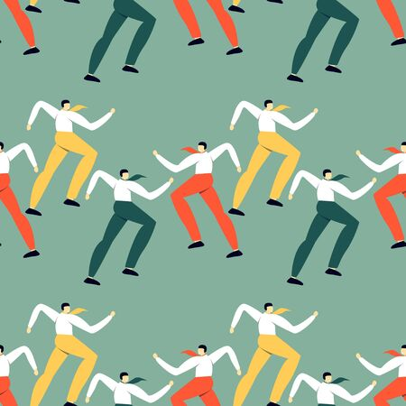 Seamless pattern with dancing office workers. Modern simple design of human's silhouette.
