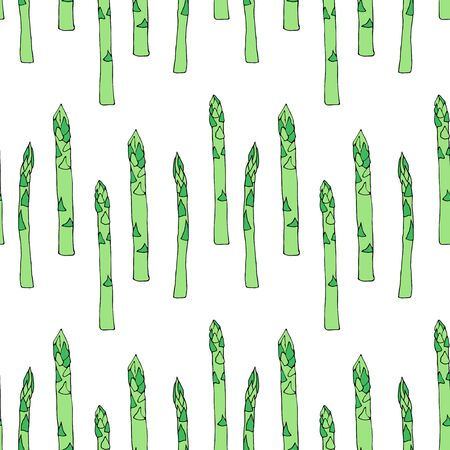 Seamless pattern with linear sketch raw asparagus. Vector illustration can be used for menu design.