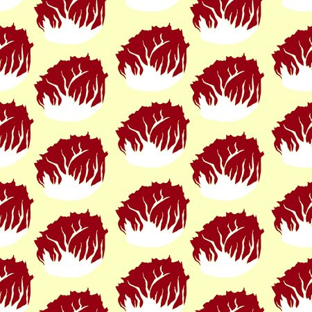 Seamless pattern with radicchio, also escariol, Italian chicory. Drawing of vegetable.