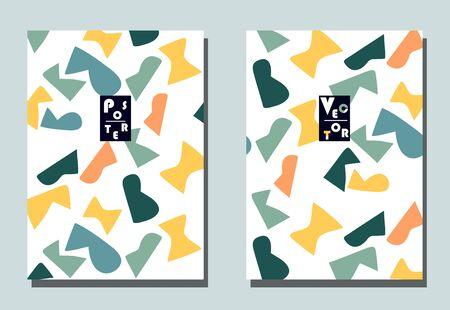 Couverture tendance avec éléments graphiques - formes abstraites. Deux flyers vectoriels modernes dans un style avant-gardiste. Fond d'écran géométrique pour brochure d'entreprise, conception de la couverture.