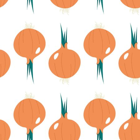 Seamless pattern with onion. Summer seasonal food.