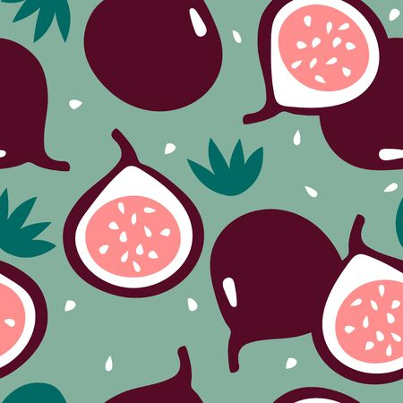 Seamless pattern with figs. Summer tropic fruits.