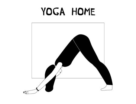 Woman doing yoga at home. Illustration with pose Dog face down, Adho Mukha Shvanasana. Ilustração
