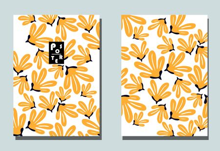 Postcards with abstract flowers and tropical leaves. Two modern vector flyers. Floral wallpaper for business brochure, cover design.