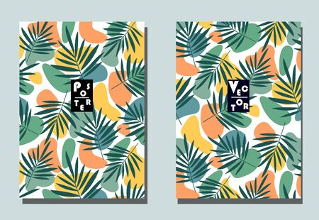 Cover with graphic elements - abstract shapes. Two modern vector flyers in puzzle style. Geometric wallpaper for business brochure, cover design.