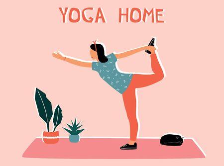 Woman doing yoga at home. Illustration with Natarajasana, dancing Shiva pose.