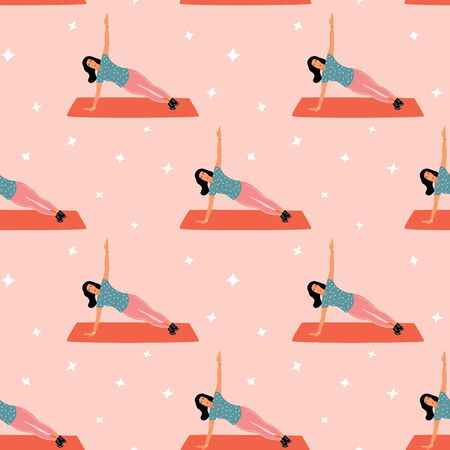 Seamless pattern with woman doing yoga at home. Illustration with side plank, Vasishthasana.