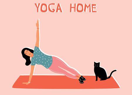 Woman doing yoga at home. Illustration with side plank, Vasishthasana. Vettoriali