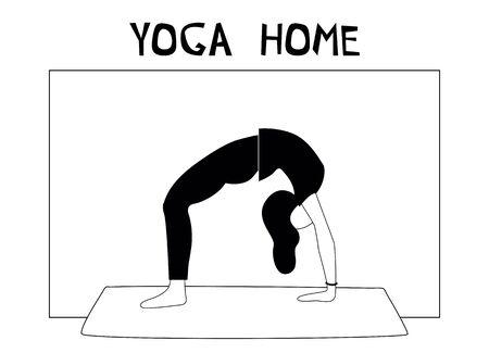 Woman doing yoga at home. Illustration with Chakrasana, Wheel Pose.