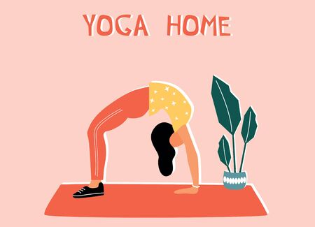 Woman doing yoga at home. Illustration with Chakrasana, Wheel Pose. Vettoriali
