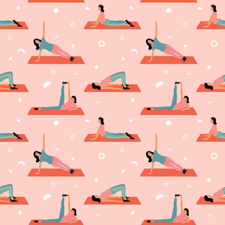 Seamless pattern with woman doing yoga at home. Illustration with different yoga pose.