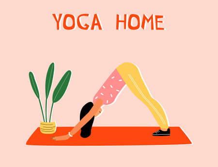 Woman doing yoga at home. Illustration with pose Dog face down, Adho Mukha Shvanasana. Illusztráció