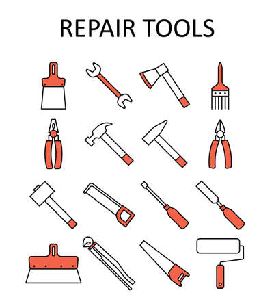 Vector outline icon with repair tools: hummer, wrench, paint roller, putty knife, nail puller, saw, pliers, ax, hacksaw, screwdriver, paint brush, sledgehammer, nippers, chisel.
