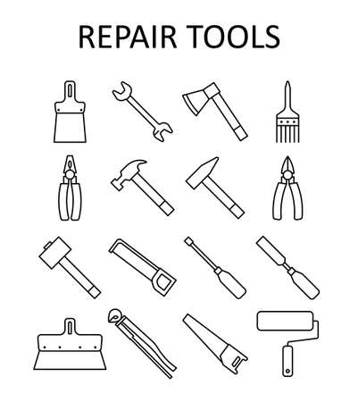 outline icon with repair tools: hummer, wrench, paint roller, putty knife, nail puller, saw, pliers, ax, hacksaw, screwdriver, paint brush, sledgehammer, nippers, chisel.