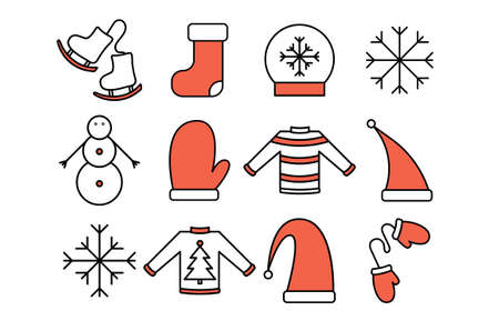 Icons on the winter theme: Santa's hat; Christmas socks; snowflakes; skates; mittens: sweater;