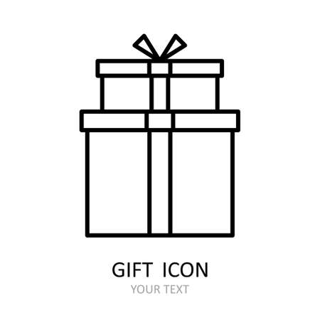 Vector outline icon with gift. White silhouette with black line. Art can be used for celebrating card - bithdays, Christmas, Happy New Year. 矢量图像