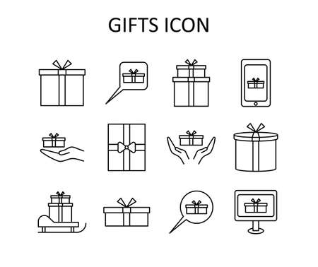 Vector outline icon set with gifts. White silhouette with black line. Art can be used for celebrating card - bithdays, Christmas, Happy New Year.