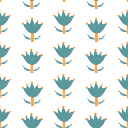 Trendy seamless pattern with graphic abstract flowers. Floral print.